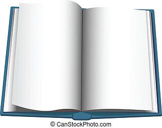 copyspace, obrót, książka, tło, otwarty, strona
