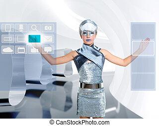 copyspace, scherm, vinger, beroeren, meisje, kinderen, futuristisch