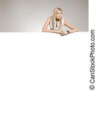 copyspace, skönhet, lott, över, attraktiv, blond, vita planka
