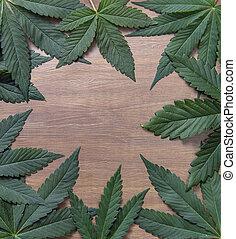 copyspace, sobre, cannabis, madeira, fundo, folhas, quadro