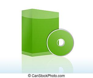 copyspace, szoftver, doboz, noha, cd