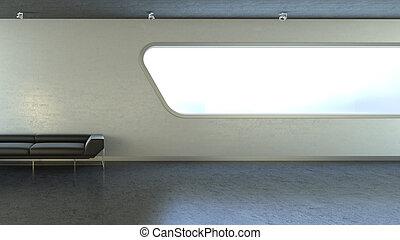 copyspace, val, gauč, okno, čerň, interrior
