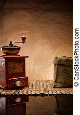 copyspace view on the coffee items