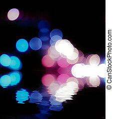 copyspace, weerspiegeling., vanille, abstract, water, lichten, straat, defocused, partij, kleuren, op