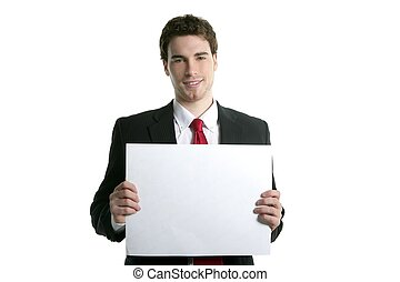 copyspace white paper young handsome businessman