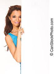 copyspace - Woman showing sign. Cute casual young beautiful...