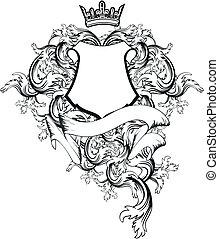 copyspace7, belægge, heraldiske, arme