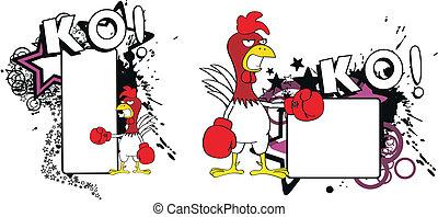 copyspace7, csirke, ökölvívás, karikatúra