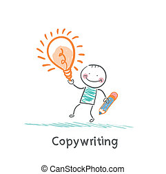 Copywriter holding a pencil and an idea