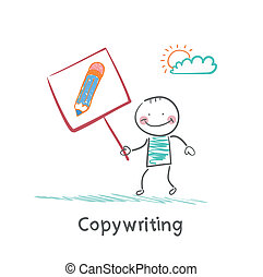 Copywriter is holding a plate with a pencil narisovanna