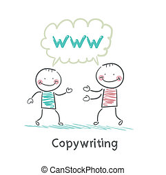 copywriter says with a customer