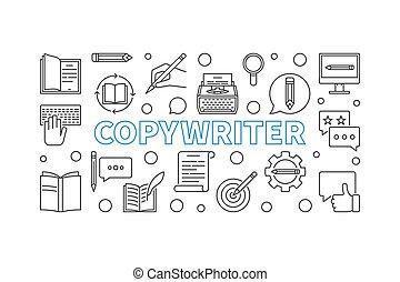 Copywriter vector outline illustration or banner -...