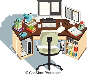 Copywriter workplace. Journalistic activity. Vector illustration