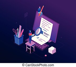 Copywriting concept - modern colorful isometric vector illustration