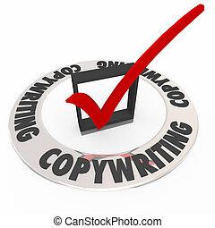 copywriting, controleren doos, mark, groot, boodschap, communicatie, verkopen, prik