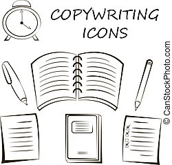 Copywriting icon in linear style. sketch Vector illustration