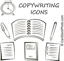 copywriting, ikona, w, linearny, style., rys, wektor, ilustracja