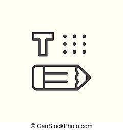 Copywriting line icon isolated on white. Vector illustration