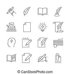 Copywriting outline icons set on white background