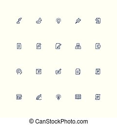 Copywriting vector icon set in outline style