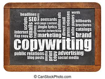 copywriting, woord, wolk, op, bord