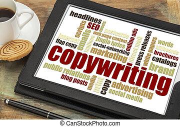 copywriting, woord, wolk, op, tablet