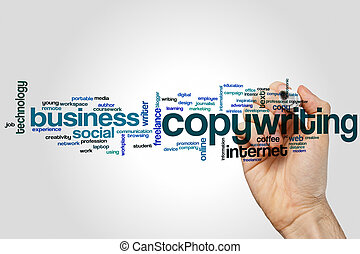 Copywriting word cloud concept on grey background