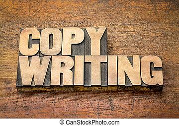 copywriting word in letterpress wood type