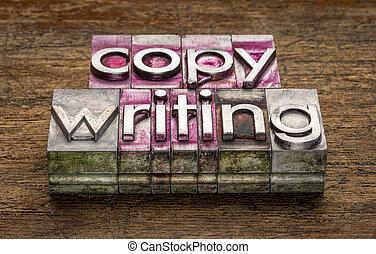 copywriting word in metal type blocks