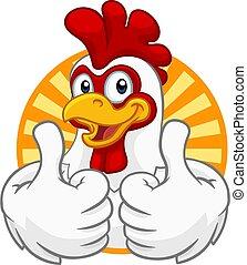 coq, caractère, poulet, coquelet, dessin animé