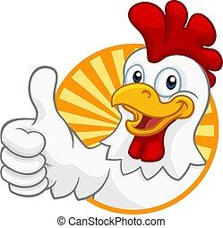 coq, dessin animé, caractère, coquelet, poulet