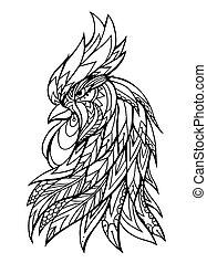 coq, illustration., t-shirts, griffonnage, illustration, tatouage, caractères, croquis, tête, pattern., boho