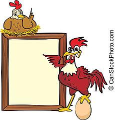 coq, panneau affichage, poule