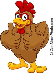 coq, poulet, dessin animé, caractère, coquelet