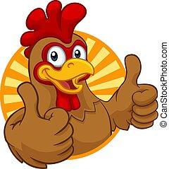 coq, poulet, dessin animé, coquelet, caractère