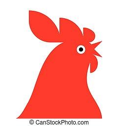 coq, rouges, mascotte