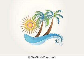 coqueiros, tropicais, sol, verão, ondas, logotipo