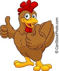 coquelet, coq, caractère, poulet, dessin animé