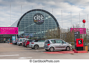 Coquelles, France - January 15, 2020- Cit?-Europe shopping center, it is the most important shopping center in the Hauts-de-France region