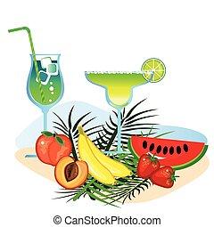 coquetéis, frutas
