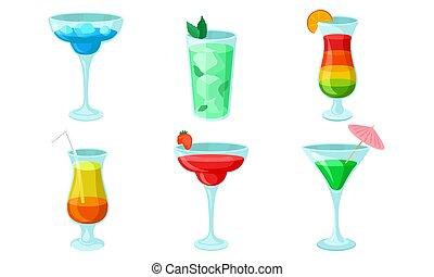 coquetéis, gelado, glasses., colorido, vetorial, illustration.