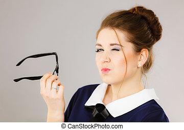 Coquet business woman flirting at work