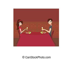 coqueta, pareja, bebida, joven