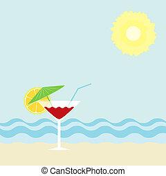 coquetel, ligado, um, praia