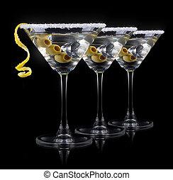 coquetel, martini, ligado, um, pretas