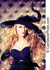 coquette - Charming halloween witch over vintage background.