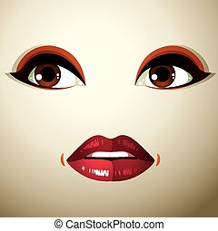 Coquette woman eyes and lips, style