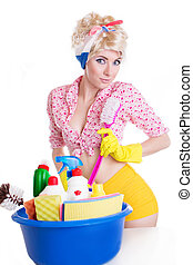 Coquettish pinup woman with cleaning set over white