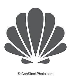 coquille, 10., sous-marin, solide, seashell, eps, signe, icône, vecteur, modèle animal, graphiques, fond blanc, glyph