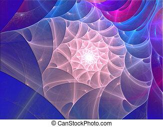coquille, fractal, mer, illustration